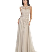 Preorder -  Nude Lace Bodice Floor Length Dress 2015 Prom Dresses