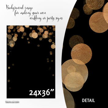 """Commercial use - Black and copper confetti background images for making wedding signs or party signs, 24x36"""""""