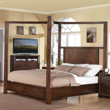 Contemporary Queen Size Wood Canopy Bed With Storage Drawers In Walnut Finish