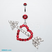Jeweled Heart Arrow Belly Ring