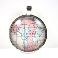 Vintage Map Pendant of Africa, in Glass Tile Circle