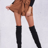 Brown High-Waisted Suede Shorts