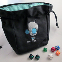 Drawstring Black canvas GIR Invader Zim  Embroidered Dice Bag or Pouch