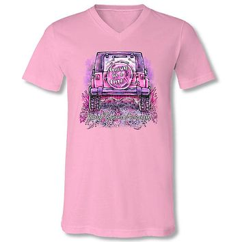 Sassy Frass Jeep Crusin Cure Breast Cancer V-Neck Canvas T-Shirt