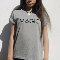 MAGIC Harry potter t shirt Women deathly hallows Hogwarts Weasley wand T-Shirt Sexy Tees sequin top Tshirt T-F10391