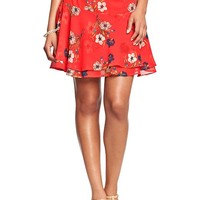 Women's Floral Crinkle-Chiffon Skirts