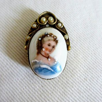 Limoges France Hand Painted Enameled Cameo Portrait Pendant Brooch