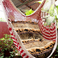 Red and White Bulico Sitting Hammock, Hanging Chair Natural Cotton and Wood