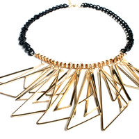 """In Shape"" Black Bead And Gold Choker Necklace"