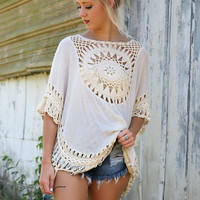 The Elyseum Oversized Cream Crochet Trim Knit Tunic Top