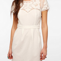 Pins And Needles Embroidered Mesh Crepe Dress