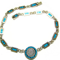 Turquoise Mayan Calendar Necklace Choker Mexican Sterling