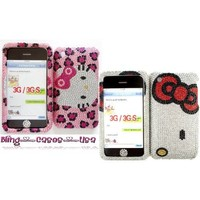 Fits iPhone 3 3g 3gs Two Blinged out rhinestone cases covers Sweet Hello Kitty Pink/silver& bling button