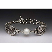 English Lace Silver Spoon Pearl Bracelet - Only 2 Left!