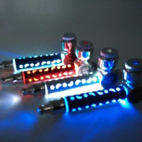 New 1pcs MINI tobacco Pipe Metal Smoking Pipe Weed Pipe With LED Flash Light for free shipping