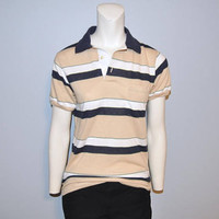 Vintage Retro Stripped Polo Shirt Short Sleeve Collared Golf Shirt Thin Soft Size Small Beige, White, Navy Blue and Green 1980's or 1970's