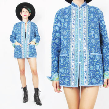 90s Boho Hippie Reversible Quilted Jacket