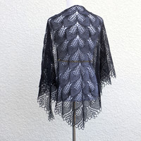 Knit shawl in black lace, knitted shawl, gift for her