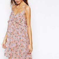 ASOS AFRICA Frill Sundress in Pink Pansy Print