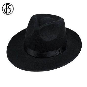 Wide Brim Fedora Hat For Men In Black / Gray / Brown