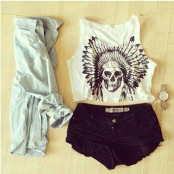 White Sleeveless Crop Top with Indian Skull Print Front, Top, skull print crop top, Casual