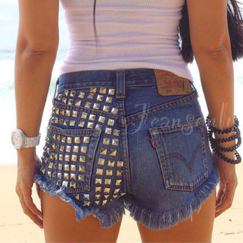 High waisted shorts Levi studded frayed distressed denim Hipster Tumblr Grunge Clothing Made To Order