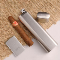 Personalized Cigar Case Flask with Zippo Lighter
