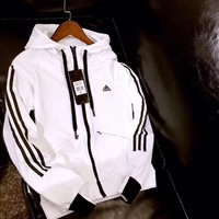 adidas:Women Favorite Hooded Black/White Sweatshirt Jacket Coat Windbreaker Sportswear