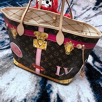 Louis Vuitton LV Women Shopping Leather Tote Handbag Shoulder Bag Lock Buckle Two Piece Set