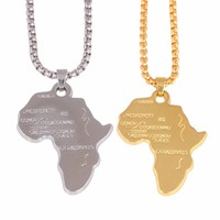 Hip-Hop Men Chain Necklaces Shellhard African Map Pendant Necklace For Women/Men Punk Jewelry Accessories