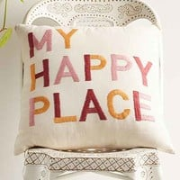 Magical Thinking My Happy Place Embroidered Pillow- Orange 18in. Sq