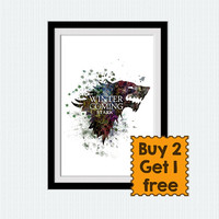 House Stark banner watercolor poster Game of Thrones poster House Stark colorful print Home decoration Gift for birthday Wall decor  W202