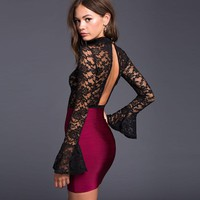 women lace transparent hollowout backless flare long sleeve turtleneck body suit sexy OL autumn lady fashion top femme mujer