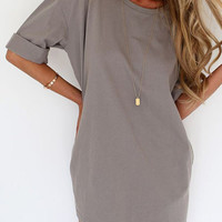 Grey Half Sleeve Tee Dress