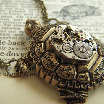 Steampunk Necklace Brass Turtle Vintage Watch Movement Nautical Sealife Jewelry Rustic Antiqued Bronze Brass Rolo Chain
