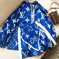 Louis Vuitton LV starry suit tide brand printing couple student hooded jacket anti-sip coat + shorts suit