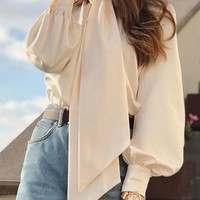 New Apricot Bow Cut Out Band Collar Long Sleeve Elegant Blouse