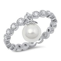 Sterling Silver Stackable CZ Ring With Drop Pearl
