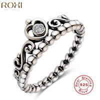 ROXI Brand 925 Sterling Silver Jewelry Ring For Women Wedding Princess Crown Zircon Ring Women Party Ring Finger Fashion Jewelry