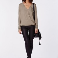 Missguided - Harper Long sleeve Jersey Wrap Front Top Taupe