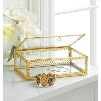 Glass Jewelry Box with Gold Frame