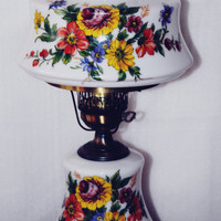 """Vintage Hand Painted Hurricane Lamp, Exceptional Painting, Reds, Yellows, Blues, Greens, Clear Glass Chimney, 23"""" Tall, Gorgeous"""