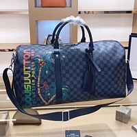 Hipgirls LV Louis vuitton Fashion New Tartan Leather Luggage Shopping Leisure Handbag Shoulder Bag Crossbody Bag Black