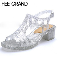 Bling Crystal Woman Sandals Square Heel Peep-toe Summer Shoes Gladiator Sandals XWZ1978