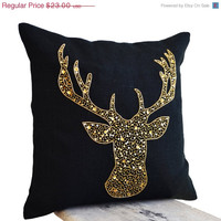 Valentine SALE Deer Pillows - Animal pillow with stag embroidered in gold sequin -Burlap pillows -Gold Moose pillow - Gold pillows- Christma