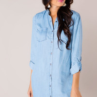 Chambray Cuffed Sleeve Tunic