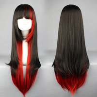 70cm LOLITA WIG Long Red and Black Beautiful Lolita/zipper wig Anime Wig,Colorful Candy Colored synthetic Hair Extension Hair piece 1pcs WIG-280A