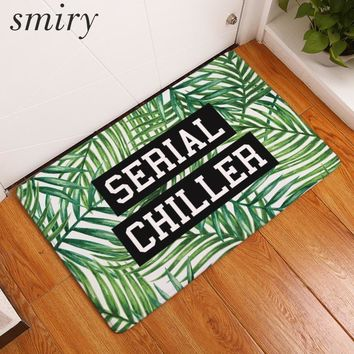 Smiry welcome home entrance door mats green plants character word pattern rugs water absorption living room bedside foot pads