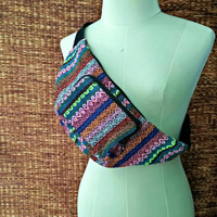 Fanny pack festival bum bag Boho Ethnic tribal pattern fabric belt belly Pouch Travel phanny waist Ikat Hippies Bohemian stripes red pink