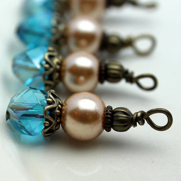 Vintage Style Aqua Blue Rhombus and Golden Pearl Bead Drop Dangle Charm Set